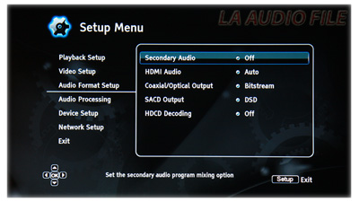 Audio Format Setup