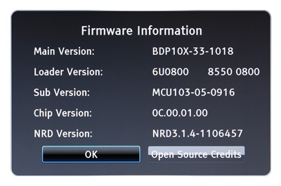 Oppo BDP-103 Firmware Information