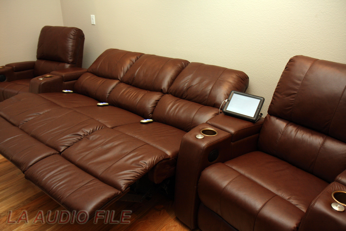 Home Theater Sofa Recliner Red Leatherette Home Theater